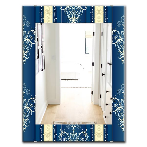 Designart Canada 35.4-in L x 23.6-in W Rectangle Luxury Lace Design Polished Wall Mirror