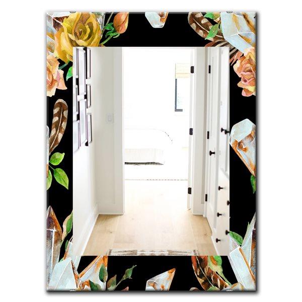 Designart Canada 35.4-in L x 23.6-in W Rectangle Obsidian Bloom Polished Wall Mirror