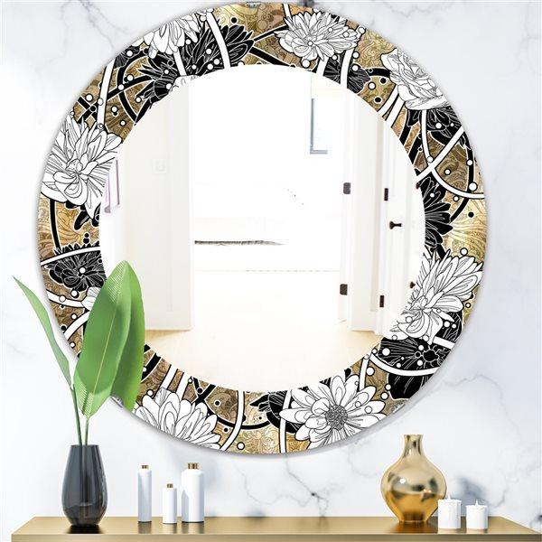 Designart Canada 24-in L x 24-in W Round White Drawn Flowers Polished Wall Mirror