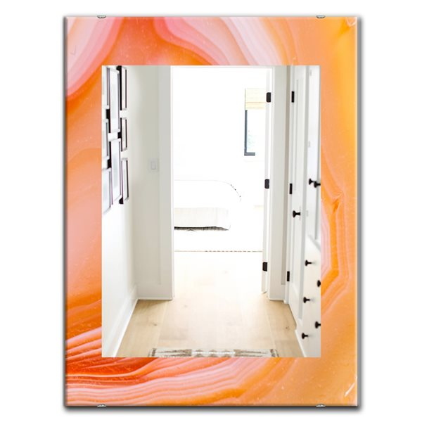 Designart Canada 35.4-in L x 23.6-in W Rectangle Orange Marbled Geode Polished Wall Mirror