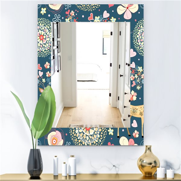 Designart Canada 35.4-in L x 23.6-in W Rectangle Deer with Flowers and Hearts Polished Wall Mirror