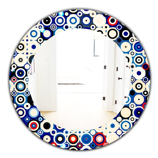 Designart Canada 24-in L x 24-in W Round Retro Stars and Dots in Disco Style Polished Wall Mirror