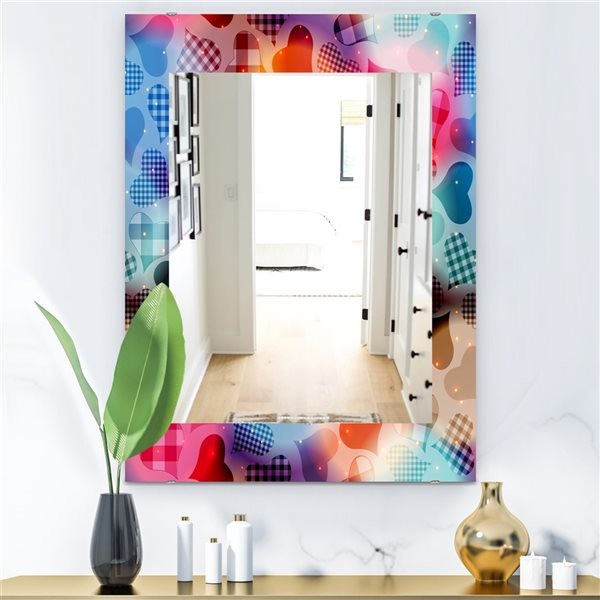 Designart Canada 35.4-in L x 23.6-in W Rectangle Floating Hearts with Squared Pattern Polished Wall Mirror