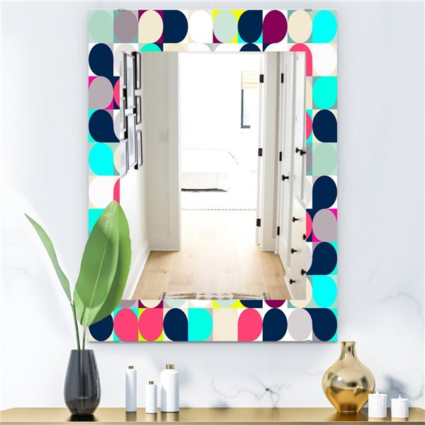 Designart Canada 35.4-in L x 23.6-in W Rectangle Circular Dance Polished Wall Mirror