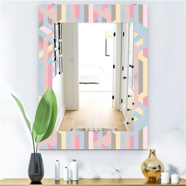 Designart Canada 35.4-in L x 23.6-in W Rectangle Pink Pastel Dreams Polished Wall Mirror