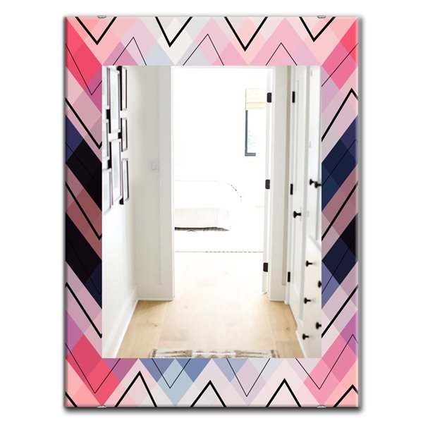 Designart Canada 35.4-in L x 23.6-in W Rectangle Blue and Pink Geometric Chevron Polished Wall Mirror