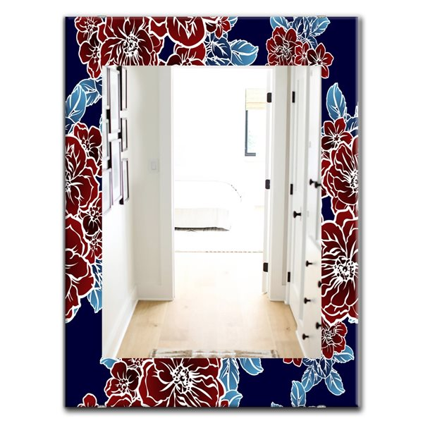 Designart Canada 35.4-in L x 23.6-in W Rectangle Floral Elements Polished Wall Mirror