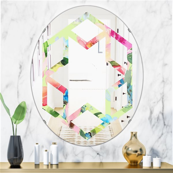Designart Canada 31.5-in L x 23.7-in W Oval Floral Botanical Retro Cottage Polished Wall Mirror