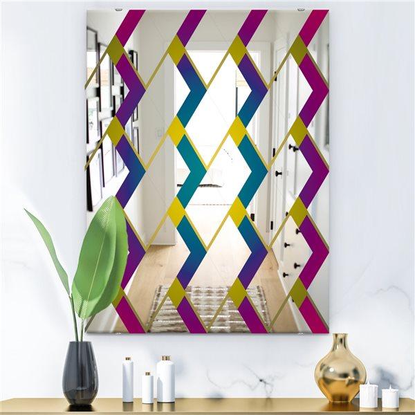Designart Canada 35.4-in L x 23.6-in W Rectangle Purple Diamonds Polished Wall Mirror