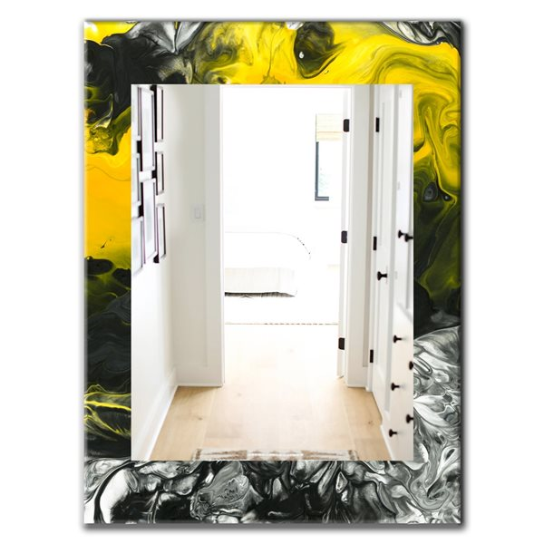 Designart Canada 35.4-in L x 23.6-in W Rectangle Marbled Yellow Modern Polished Wall Mirror