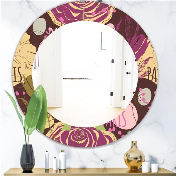Designart Canada 24-in L x 24-in W Round Retro Roses Polished Wall Mirror