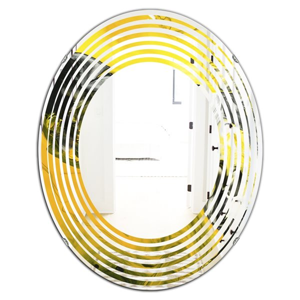 Designart Canada Oval 31.5-in L x 23.7-in W Yellow Marble Polished Wall Mirror