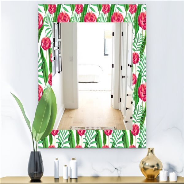 Designart Canada 35.4-in L x 23.6-in W Rectangle Pink and Green Tropical Mood Bright Polished Wall Mirror
