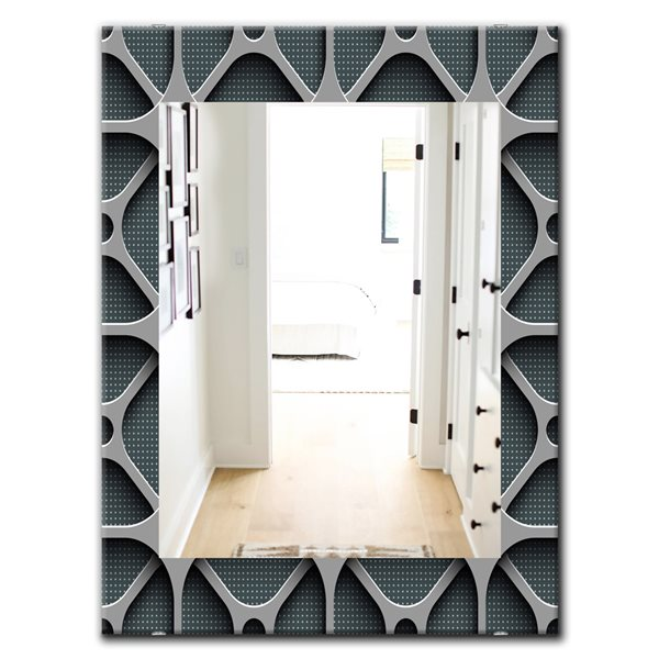 Designart Canada 35.4-in L x 23.6-in W Rectangle Grey Scandinavian Polished Wall Mirror