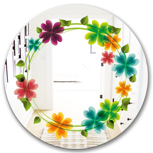 Designart Canada 24-in L x 24-in W Round Flowers with Heart Petals Polished Wall Mirror