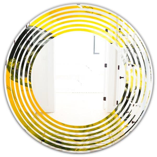 Designart Canada Round 24-in W x 24-in L Yellow Marble Modern Polished Wall Mirror