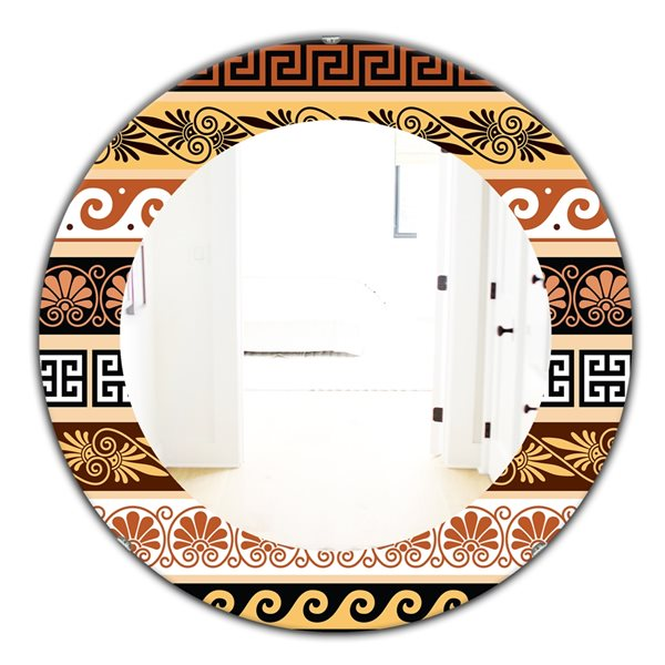 Designart Canada 24-in L x 24-in W Round Brown Ancient Patterns Polished Wall Mirror