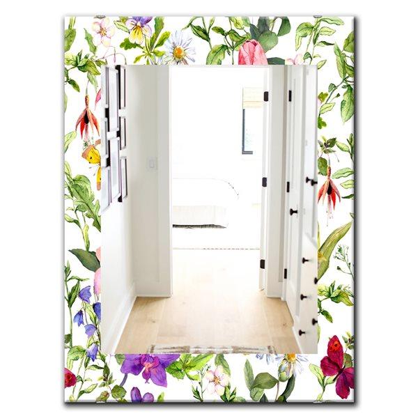 Designart Canada Rectangle 35.4-in L x 23.6-in W Multicolour Blossom Polished Wall Mirror