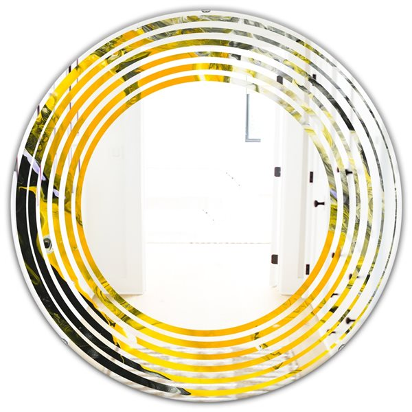 Designart Canada 24-in L x 24-in W Round Yellow and Black Marble Polished Wall Mirror