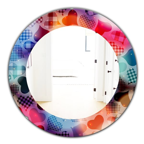 Designart Canada 24-in L x 24-in W Round Floating Hearts with Squared Pattern Polished Wall Mirror