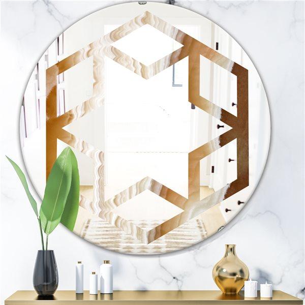 Designart Canada Round 24-in L x 24-in W Marbled Geode Modern Polished Wall Mirror