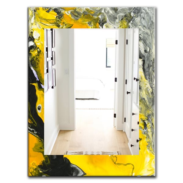 Designart Canada Rectangle 35.4-in L x 23.6-in W Marbled Yellow Modern Polished Wall Mirror