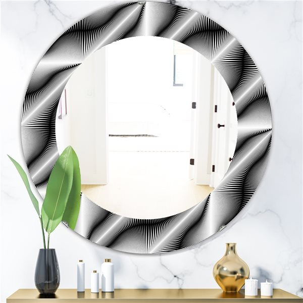 Designart Canada 24-in L x 24-in W Round Scandinavian Polished Wall Mirror