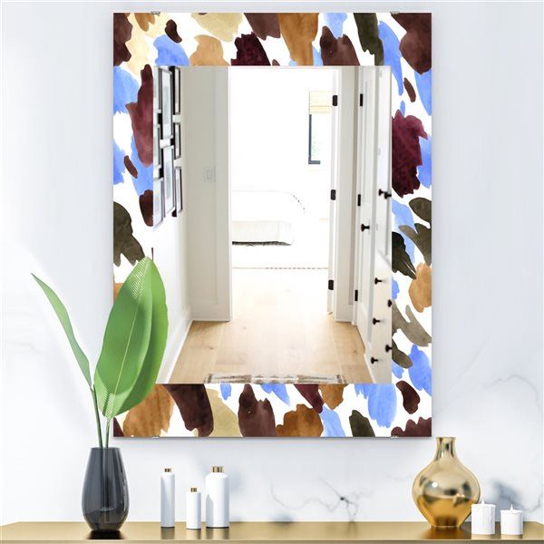 Designart Canada 35.4-in L x 23.6-in W Rectangle Burgundy Blue and Brown Leopard Polished Wall Mirror