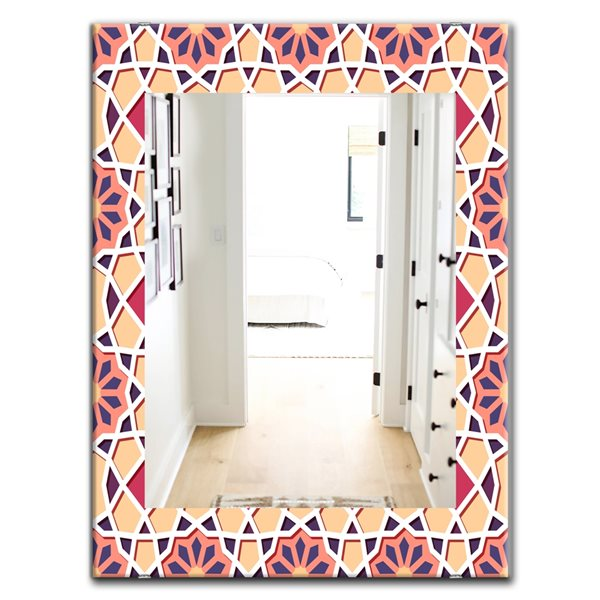 Designart Canada 35.4-in L x 23.6-in W Pink Rectangle Geometric Flowers Polished Wall Mirror