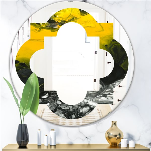 Designart Canada 24-in W x 24-in L Round Yellow Marble Polished Wall Mirror