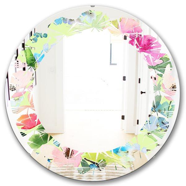 Designart Canada Round 24-in W x 24-in L Floral Botanical Retro Polished Wall Mirror