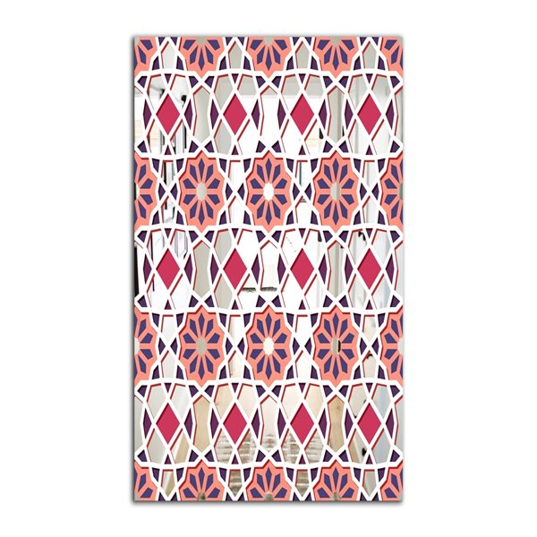 Designart Canada 35.4-in L x 23.6-in W Rectangle Pink Geometric Flowers Polished Wall Mirror