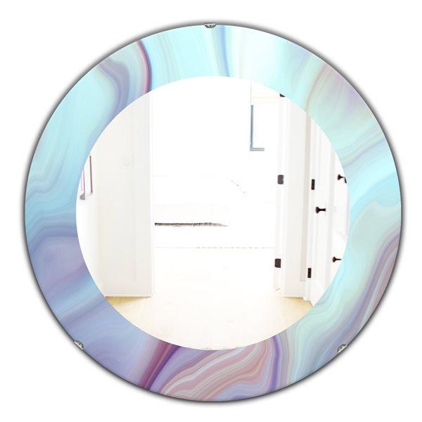 Designart Canada 24-in L x 24-in W Round Blue Marbled Geode Polished Wall Mirror