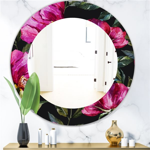 Designart Canada Round 24-in L x 24-in W Obsidian Bloom Traditional Polished Wall Mirror