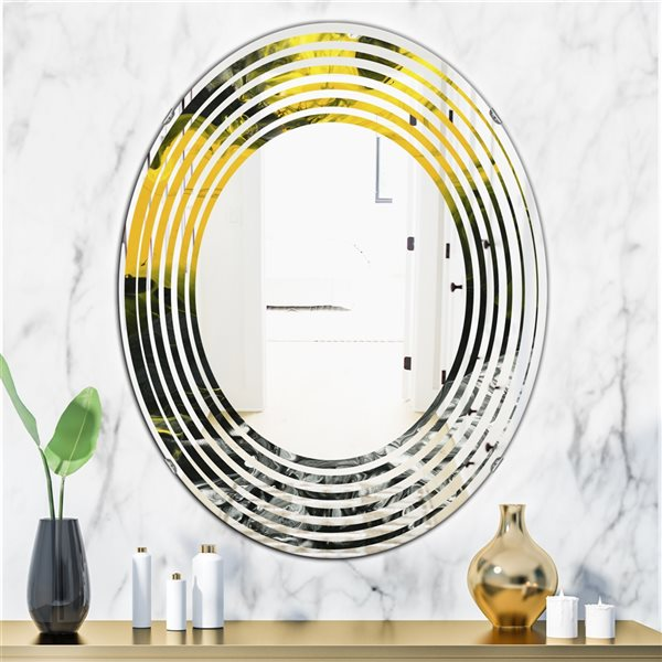 Designart Canada 31.5-in L x 23.7-in W Oval Marbled Yellow and Black Polished Wall Mirror