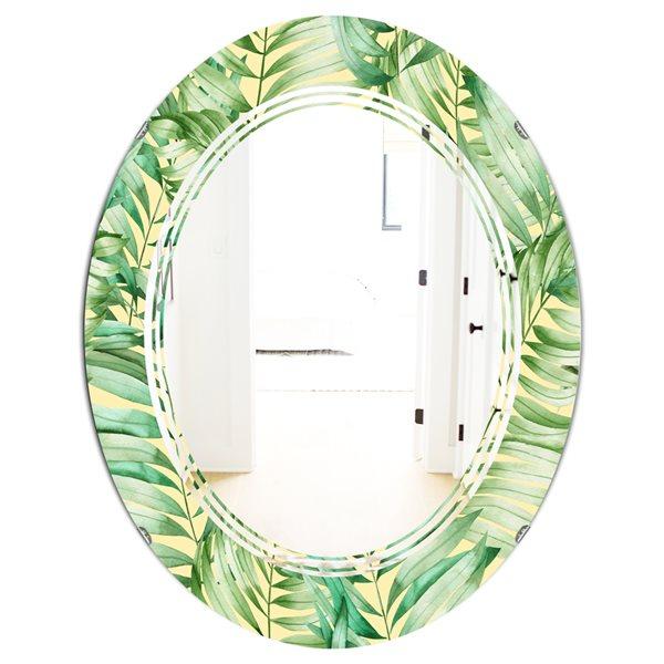 Designart Canada Oval 31.5-in L x 23.7-in W Tropical Retro Foliage Polished Wall Mirror