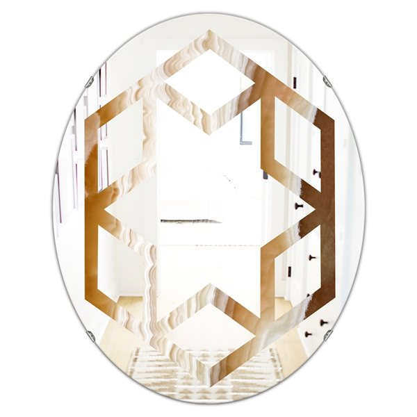 Designart Canada 23.7-in W x 31.5-in L Oval Marbled Geode Polished Wall Mirror