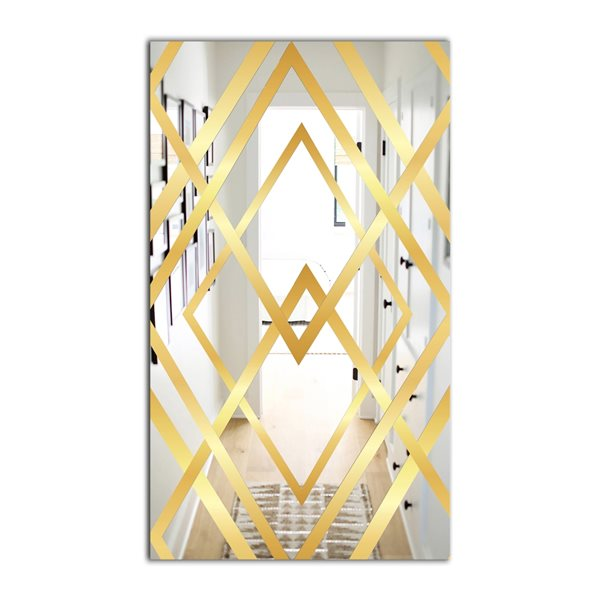 Designart Canada 23.6-in W x 35.4-in L Gold Rectangle Polished Wall Mirror