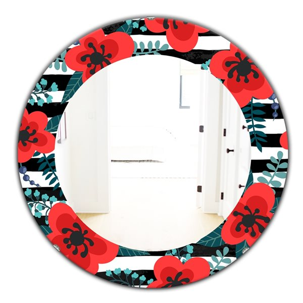 Designart Canada 24-in L x 24-in W Round Red Botanicals Polished Wall Mirror