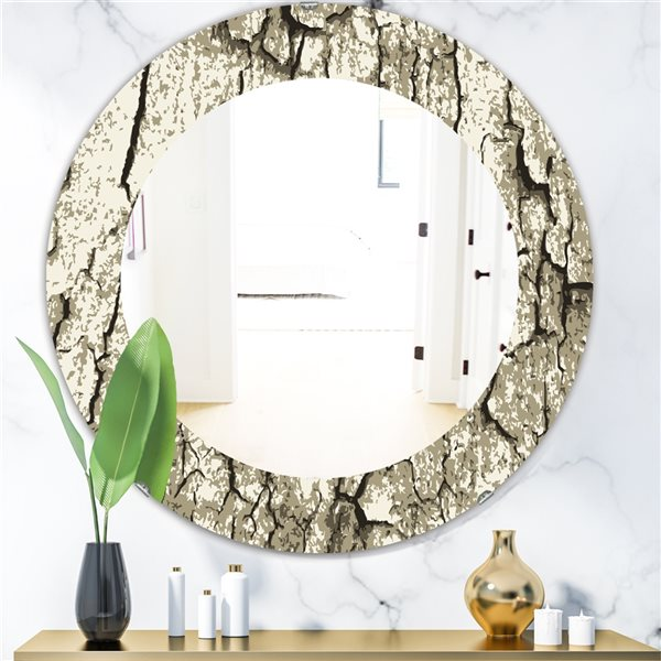 Designart Canada 24-in L x 24-in W Round Vintage Tree Bark Polished Wall Mirror