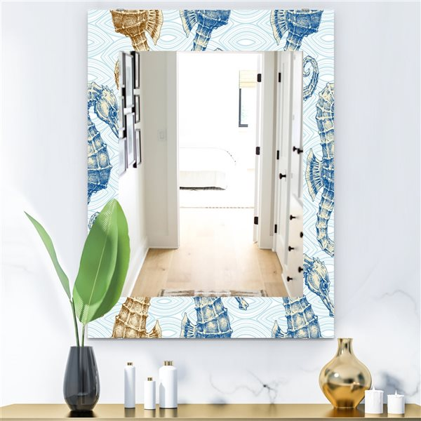 Designart Canada 35.4-in L x 23.6-in W Rectangle Blue Costal Creatures Polished Wall Mirror