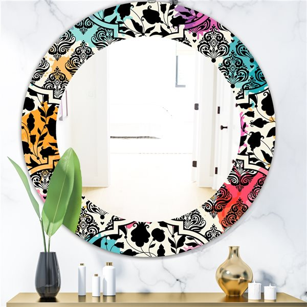 Designart Canada 24-in L x 24-in W Round Black Floral with Pops of Colour Polished Wall Mirror