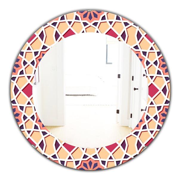 Designart Canada 24-in L x 24-in W Round Pink Geometric Flowers Polished Wall Mirror