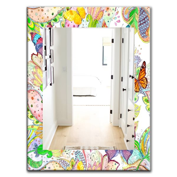 Designart Canada 35.4-in L x 23.6-in W Rectangle Bohemian Butterflies Polished Wall Mirror