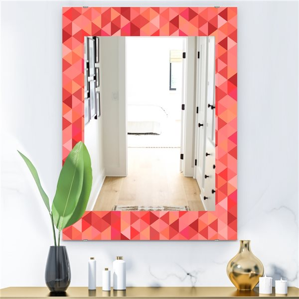 Designart Canada 35.4-in L x 23.6-in W Rectangle Pink Spheres Polished Wall Mirror