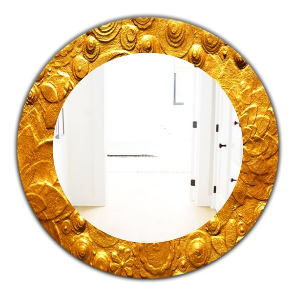 Designart Canada 24-in L x 24-in W Round Yellow Moods Polished Wall Mirror