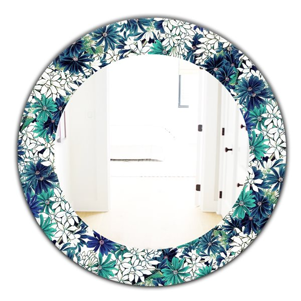 Designart Canada 24-in L x 24-in W Round Turquoise of Flowers Polished Wall Mirror