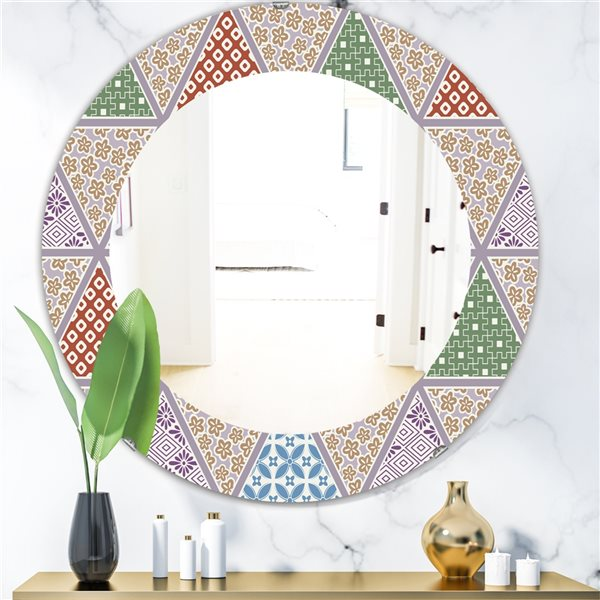 Designart Canada 24-in L x 24-in W Round Multicolour Traditional Patterns Polished Wall Mirror