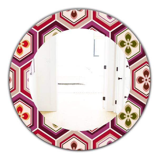 Designart Canada 24-in L x 24-in W Round Pink Honeycomb Polished Wall Mirror
