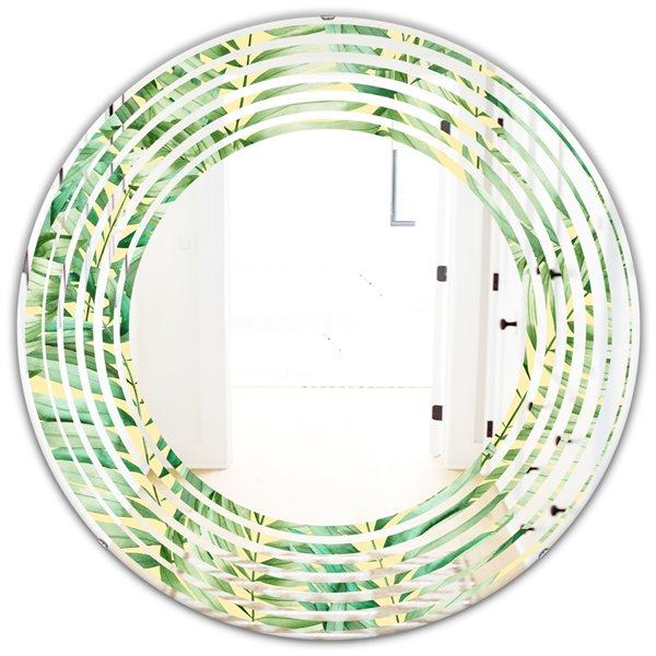 Designart Canada Round 24-in L x 24-in W Tropical Retro Foliage Polished Wall Mirror